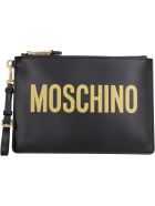 Moschino Logo Detail Flat Leather Pouch - black