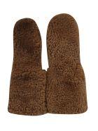 Plan C Fur Applique Gloves - Caramello