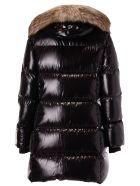 Fay Fur Detail Padded Coat - Black