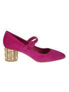 Salvatore Ferragamo Leather Crystal Heel Pumps - Cerise