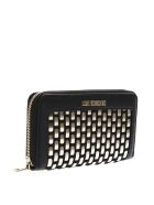 Love Moschino Zip Around Wallet In Black And Gold Eco Leather - Black/gold
