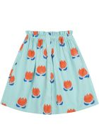 Bobo Choses Green Skirt For Girl With Flowers - Green