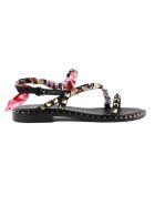 Ash Foulard Flower Flat Sandals - Brasil Black