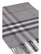 Burberry Checked Cashmere Scarf - grey