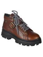 Miu Miu Lace & Buckled Leather Boots - Cognac