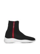 Prada Linea Rossa Logo Striped Hi-top Sneakers - Nero bianco rosso