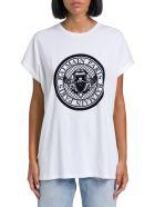 Balmain T-shirt With Floc Logo Print - Bianco