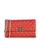 Valentino Quilted Chain Wallet - Ro Red