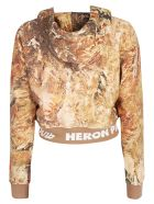 HERON PRESTON Camo Crop Hoodie - Multicolor