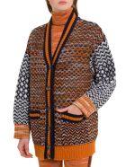 M Missoni Maxi Cardigna In Inlais Knit - Arancio