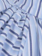 Victoria Beckham Ruched Shoulder Sleevless Top - Pool Blue White