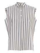 Aspesi Striped Flared Shirt W/s 3 Buttons - Fdo Bianco Riga Blu