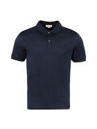 Alexander McQueen Short-sleeved Cotton Polo Shirt - blue