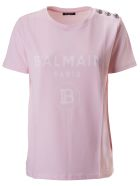 Balmain Buttoned Detail T-shirt - Rose pale/blanc
