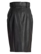 Sara Battaglia Wet-look Pencil Skirt - Nero