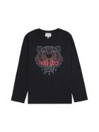 Kenzo Kids Long Sleeve Cotton T-shirt - black