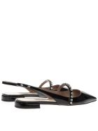 Miu Miu Black Patent Leather Open Toe Pointy Slippers - Black