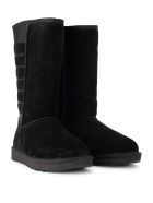 UGG Classic Tall Black Leather And Sheepskin Boots - NERO
