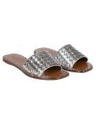 Bottega Veneta Braided Flat Sandals - Silver