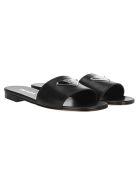 Prada Logo Plaque Flat Sandals - BLACK