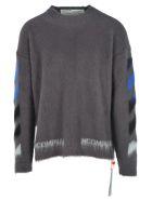 Off-White Off White Diagonal Brushed Sweater - GREY MEL