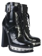 Alexander McQueen Ankle Boot With Plateau And Tread Sole - NERO