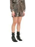 Ganni Cedar Leopard Printed Shorts - Marrone
