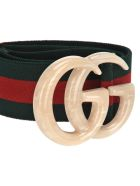 Gucci Gucci Elastic Web Belt With Double G Buckle - GREEN RED WEB + PLEXI