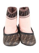 Fendi Brown Socks Shoes For Babygirl With Logo - Brown