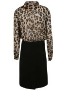 Moschino Leopard Print Shirt Dress - spotted