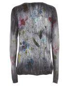 Avant Toi Flower Print W/brushes V Neck Pullover - Marmo