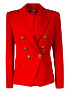 Balmain Double-breasted Cropped Blazer - Scarlet