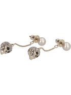 Alexander McQueen Earrings With Pearl And Skull - Gold