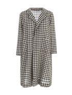Daniela Gregis Checked 100% Wool High Neck Long Coat - Light Natural Black Check