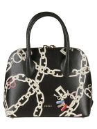 Furla Double-zip Chain Printed Tote - black