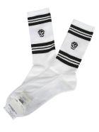 Alexander McQueen Skull Knitted Socks - White black