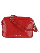 Miu Miu Sequin-coated Shoulder Bag - Red