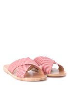 Ancient Greek Sandals Thais Red And White Fabric Slippers - ROSSO