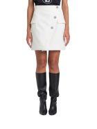 Balmain Wrap Miniskirt With Buttons - Bianco