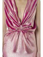 Rhea Costa Metal Pink Silk Droped Long Dress - Pink