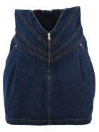ATTICO High-waisted Denim Skirt - DENIM BLUE
