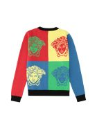 Young Versace Cotton Crew-neck Sweater - Multicolor