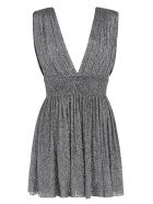 Saint Laurent V-neck Glittery Sleeveless Dress - Silver