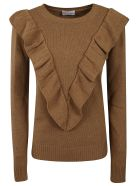 RED Valentino Ruffled Sweater - CAMEL