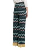 M Missoni Lurex Knit Wide Pants With Wave Motif - Blu