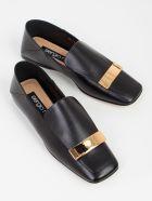 Sergio Rossi Slippers Leather W/gold Plate - Nero