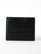 Bottega Veneta Weaved Effect Card Case - Nero