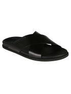 Dolce & Gabbana Cross-strap Sliders - black