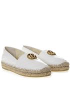 Gucci White Leather Espadrilles With Gg Logo - Great white