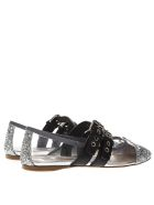 Miu Miu Black & Silver Pvc & Leather Pointy Buckled Slippers - Black/silver